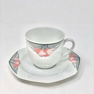 Vintage Kitchen - Vintage 80's Art Deco inspired Teacup & Saucer